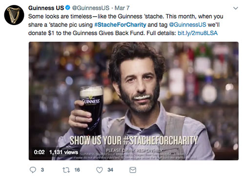 #StachForCharity Guinness Hashtag St Patrick's Day